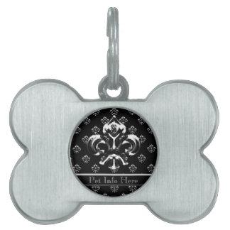 Flor de lis metálica (plata) placa de nombre de mascota