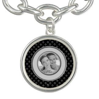 Flor de lis metálica (plata) pulseras