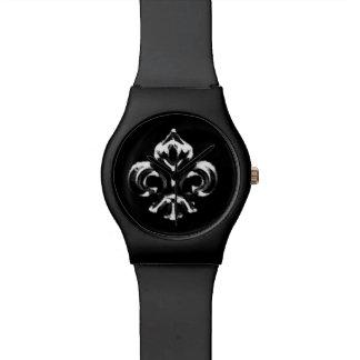 Flor de lis metálica (plata) relojes