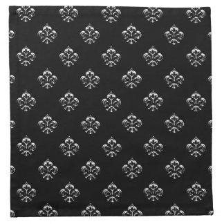 Flor de lis metálica (plata) servilletas imprimidas