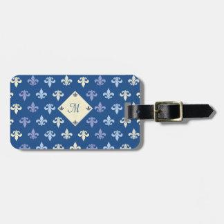 Flor de lis - monograma etiquetas para equipaje