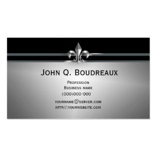 Flor de lis negra de plata moderna plantilla de tarjeta personal