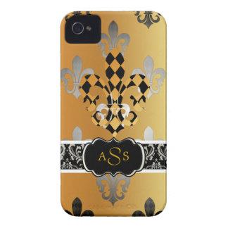 Flor de lis negra del oro de PixDezines Case-Mate iPhone 4 Carcasa