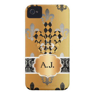 Flor de lis negra del oro de PixDezines iPhone 4 Carcasa