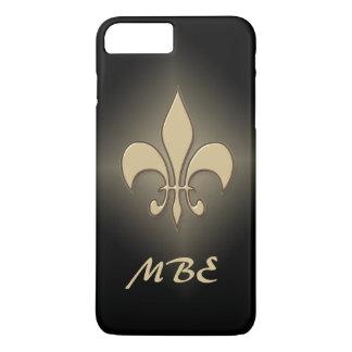Flor de lis negra del oro funda iPhone 7 plus