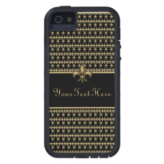 Flor de lis negra del oro funda para iPhone SE/5/5s