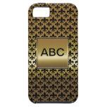 Flor de lis negra en el oro iPhone 5 Case-Mate cobertura