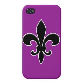 Flor de lis negra en púrpura iPhone 4 carcasa