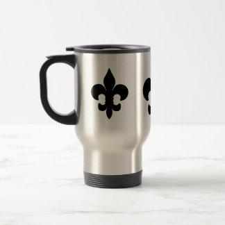 Flor de lis negra estupenda taza de viaje