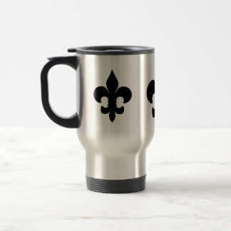 Flor de lis negra estupenda taza de viaje de acero inoxidable