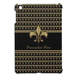 Flor de lis negra personalizada del oro iPad mini cárcasas