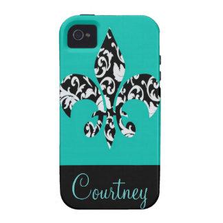 Flor de lis negra y blanca del damasco con el azul iPhone 4/4S funda