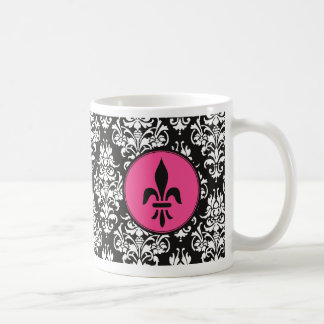 Flor de lis negra y blanca del damasco taza de café