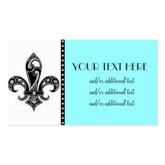 Flor de lis negra y blanca tarjetas de visita
