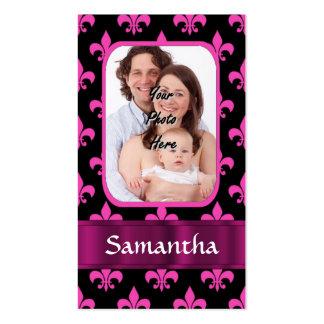 Flor de lis negra y rosada tarjetas de visita