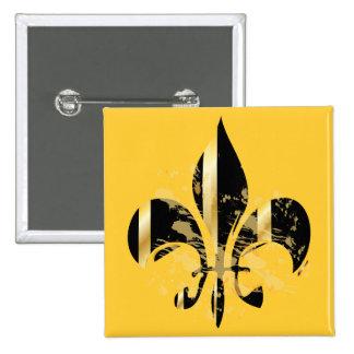 Flor de lis/negro del Grunge + oro Pin Cuadrada 5 Cm