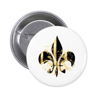 Flor de lis/negro del Grunge + oro Pin Redondo 5 Cm