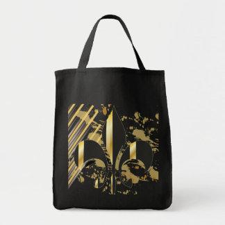 Flor de lis/negro + oro bolsa tela para la compra