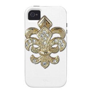 Flor de lis New Orleans del oro del diamante Case-Mate iPhone 4 Fundas