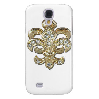 Flor de lis New Orleans del oro del diamante
