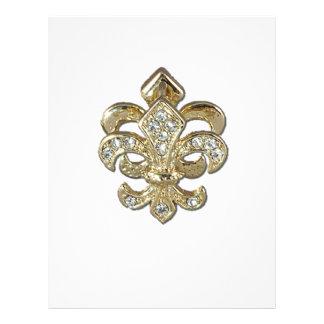 Flor de lis New Orleans del oro del diamante Plantillas De Membrete