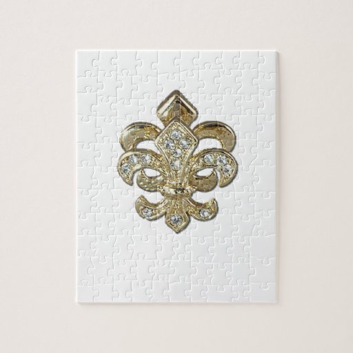 Flor de lis New Orleans del oro del diamante Rompecabeza