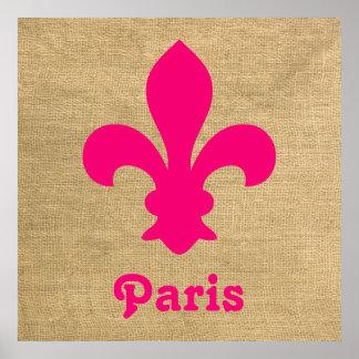 Flor de lis parisiense rosada de los humores póster