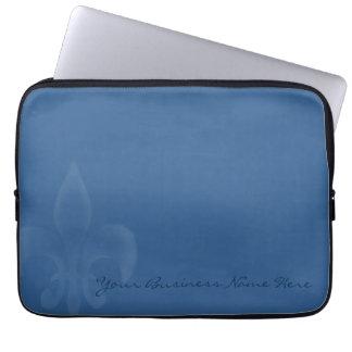 Flor de lis personalizada azul descolorada funda portátil