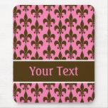 Flor de lis personalizada Brown rosada Mousepad