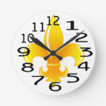 Flor de lis personalizada del oro relojes de pared