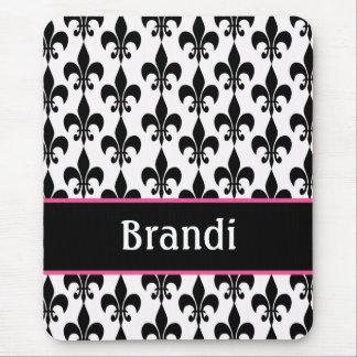 Flor de lis personalizada negro rosado Mousepad