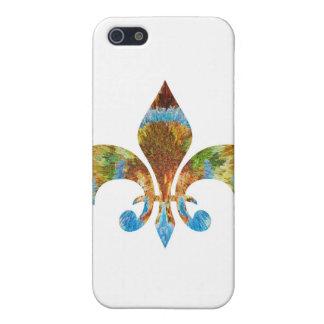Flor de lis:  Plata del oro n grabada iPhone 5 Carcasas