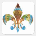 Flor de lis:  Plata del oro n grabada Calcomanía Cuadradas Personalizadas