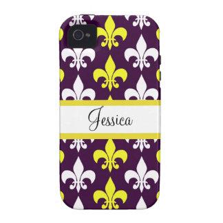 Flor de lis púrpura, amarilla, y blanca Case-Mate iPhone 4 fundas