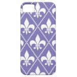 Flor de lis púrpura brillante iPhone 5 Case-Mate cárcasas