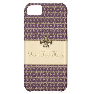 Flor de lis púrpura del oro carcasa para iPhone 5C