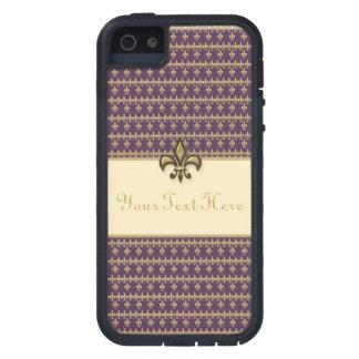 Flor de lis púrpura del oro iPhone 5 carcasa