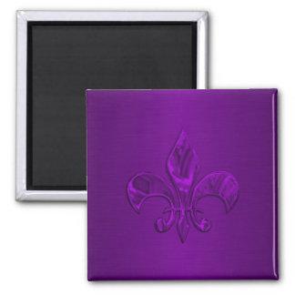 Flor de lis púrpura imán cuadrado