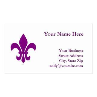 Flor de lis púrpura plantilla de tarjeta personal