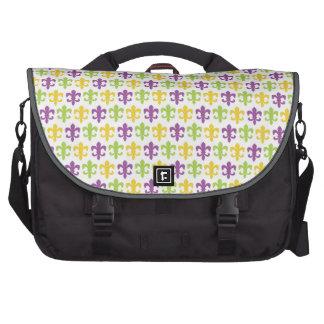 Flor de lis púrpura verde y amarilla violeta bolsas de portatil