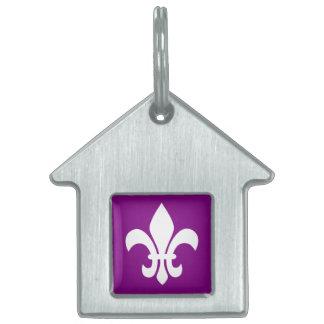 Flor de lis púrpura y blanca placa mascota