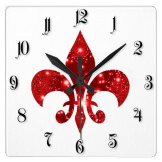 Flor de lis reloj cuadrado