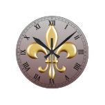 Flor de lis reloj redondo mediano