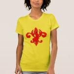 Flor de lis roja apenada, cangrejo camiseta