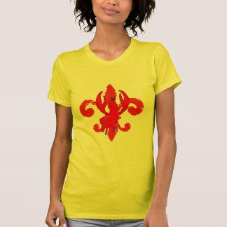Flor de lis roja apenada cangrejo camiseta