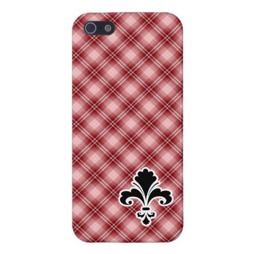 Flor de lis roja de la tela escocesa iPhone 5 coberturas
