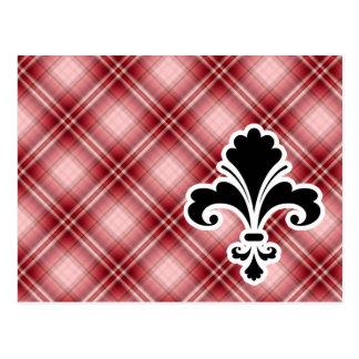 Flor de lis roja de la tela escocesa tarjeta postal