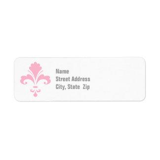 Flor de lis rosa clara etiquetas de remite