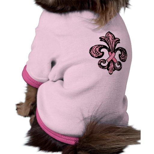 Flor de lis rosada de la cinta camiseta con mangas para perro