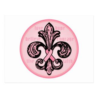Flor de lis rosada de la cinta postal